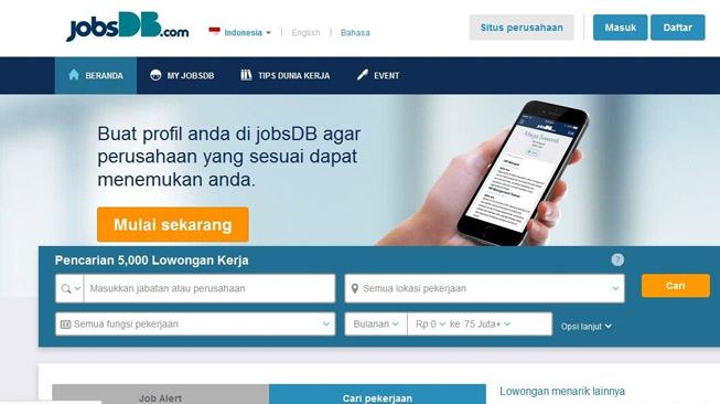 Membuka Website JobsDB